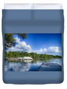 Boats At Dock On A Lake With Blue Sky Duvet Cover