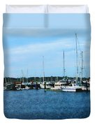Boats At Newport Ri Duvet Cover