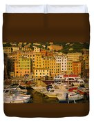 Boats At The Harbor, Camogli, Liguria Duvet Cover