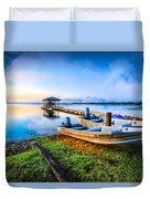 Boats At The Lake Duvet Cover