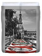 Boats By The Plaza De Espana Seville Duvet Cover by Mary Machare