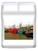 Boats In Branch Marina-nl Duvet Cover