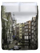 Boats In Canal Amsterdam Duvet Cover