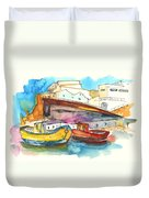 Boats In Ericeira In Portugal Duvet Cover by Miki De Goodaboom