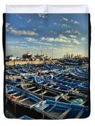 Boats In Essaouira Morocco Harbor Duvet Cover