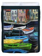 Boats In Front Of The Buildings II Duvet Cover
