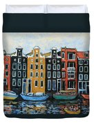 Boats In Front Of The Buildings Vi Duvet Cover