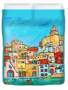 Boats In Front Of The Buildings Vii Duvet Cover
