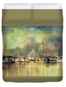 Boats In Harbour Duvet Cover