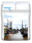 Boats In The Old Harbor Duvet Cover