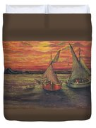 Boats In The Sea Duvet Cover