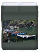Boats In Vernazza Duvet Cover