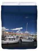 Boats Line Victoria Dock Hobar Duvet Cover