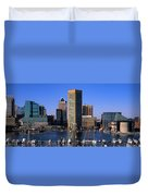 Boats Moored At Inner Harbor Viewed Duvet Cover