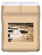 Boats On Beach 02 Duvet Cover by Pixel  Chimp