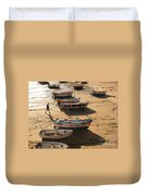Boats On Beach Duvet Cover by Pixel  Chimp