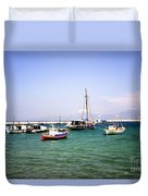 Boats On The Aegean Sea 1 - Mykonos - Greece Duvet Cover