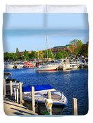 Boats On The Dock Traverse City Duvet Cover