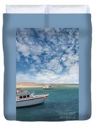Boats On The Red Sea Coast Duvet Cover