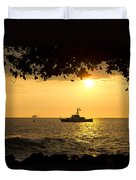 Boats Under The Hawaiian Sunset Duvet Cover
