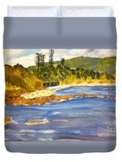 Boatsheds At Sandon Point Duvet Cover