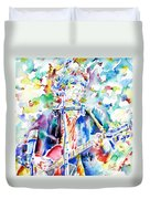 Bob Dylan Playing The Guitar - Watercolor Portrait.1 Duvet Cover