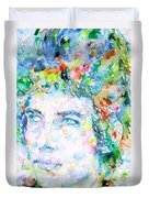 Bob Dylan Watercolor Portrait.3 Duvet Cover