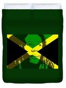 Bob Marley On Jamaican Flag Duvet Cover