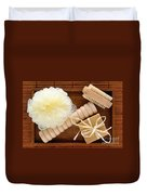 Body Care Accessories In Wood Tray Duvet Cover