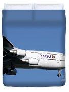 Boeing 747-400 Of Thai International Duvet Cover