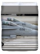 Boeing Fa-18 Hornets Of The Swiss Air Duvet Cover