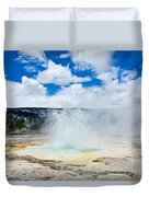 Boiling Point - Geyser Eruption In Yellowstone National Park Duvet Cover