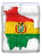 Bolivia Painted Flag Map Duvet Cover