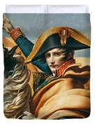 Bonaparte Crossing The Alps Oil On Canvas Detail Of 18491 Duvet Cover