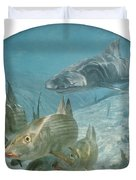 Bonefish Pursued By A Shark, 1972 Duvet Cover