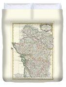 Bonne Map Of Poitou Touraine And Anjou France Duvet Cover