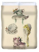 Bonnets For An Occasion, Fashion Plate Duvet Cover