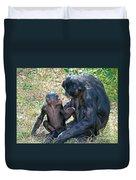 Bonobo Adult Talking To Juvenile Duvet Cover