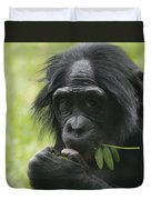 Bonobo Eating Duvet Cover