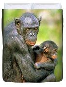 Bonobo Pan Paniscus Mother And Infant Duvet Cover