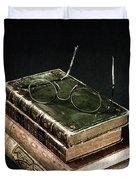 Books With Glasses Duvet Cover