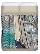 Boots On Swing Bridge Over Troubled White Water Duvet Cover