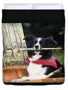 Border Collie At Painting Easel Duvet Cover