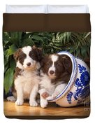 Border Collie Puppies In Plant Pot Duvet Cover