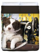 Border Collie Puppy With Sewing Machine Duvet Cover