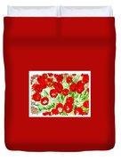 Bordered Red Tulips Duvet Cover