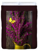 Boronia With Yellow Butterfly Duvet Cover