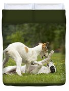 Borzoi Puppies Playing Duvet Cover