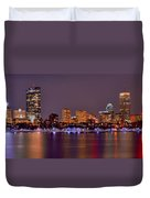 Boston Back Bay Skyline At Night Color Panorama Duvet Cover