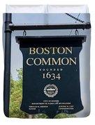 Boston Common Park Sign, Boston, Ma Duvet Cover